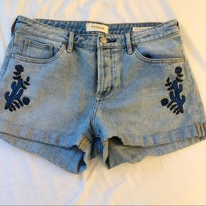 PACSUN HIGHWAISTED DENIM Embroidered shorts size 8